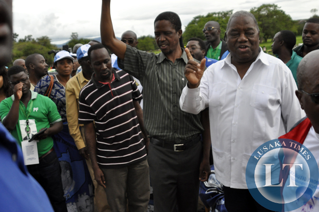 Former president Rupiah Banda and Edgar Lungu captured at a political rally in Chipata on Tuesday.
