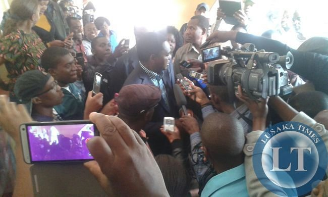 HH speaking to journalists after casting his vote