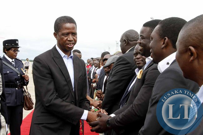 President Edgar Lungu greets greets PF officials at Kenneth Kaunda International Airport shortly before departure to Addis Ababa, Ethiopia for the African Union Summit on January 29,2015 -Picture by THOMAS NSAMA