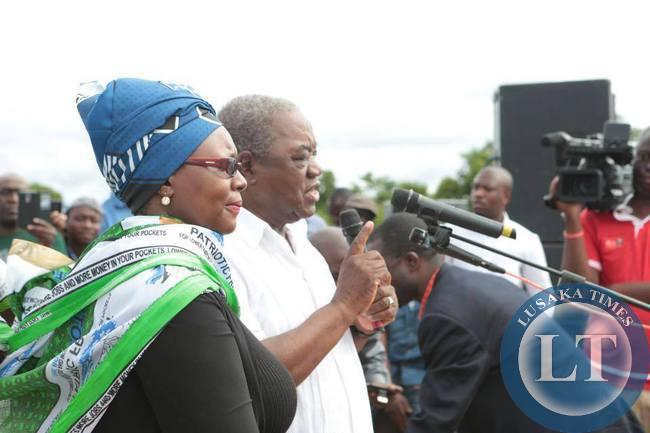 Former President Rupiah Banda and former MMD Petauke Member of Parliament  Dora Siliya campaign for PF Presidential Candidate  Edgar Lungu at a PF rally in Petauke