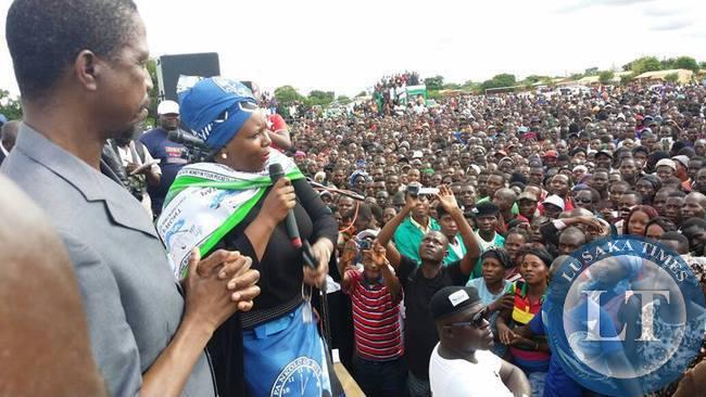 Dora Siliya campaigns for PF Presidential Candidate Hon Edgar Lungu at a PF rally in Petauke