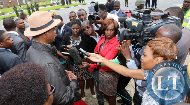 President Edgah Lungu talks to the Media at KK internatioanl airport in Lusaka Before he left for working Holiday in Mfuwe on 04-01-2015 PICTURE BY EDDIE MWANALEZA/STATEHOUSE.