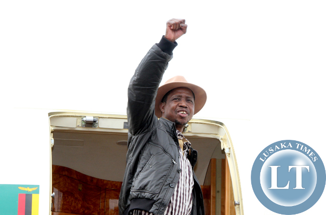 President Edgar Lungu  upon departure at Kenneth Kaunda international airport