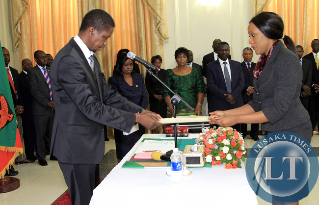 President Edgar Lungu During the Swearing in ceremony of Ms Mwaba Doreen Mwaba Chief Policy Analystat Statehouse on Thursday 19th February 2015, Picture By EDDIE MWANALEZA/STATEHOUSE.