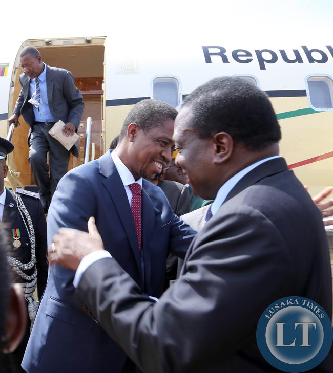 President Edgar Lungu with Zimbabwean vice President Minister Emmerson Mnangagwa at Harare, Zimbabwe. Picture By EDDIE MWANALEZA /STATEHOUSE
