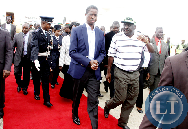 President Edgar Lungu on arrival at Kenneth Kaunda International Airport  from Addis Ababa where  he attended the African Union Summit on 1st January 2015 --Picture by THOMAS NSAMA