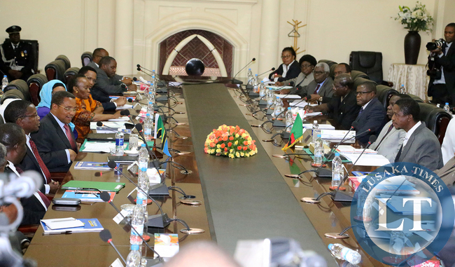 President Edgar Lungu during the opening of Officail talks with President Dr Jakaya Kitwete delegation at at Statehouse in Lusaka on 25-02-2015. PICTURE  BY EDDIE MWANALEZA/STATEHOUSE.