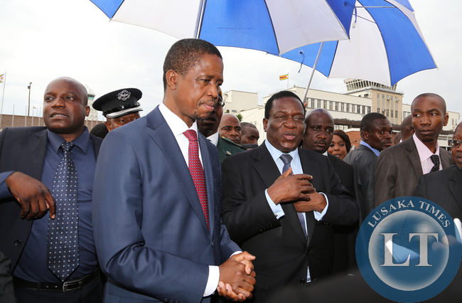 President Edgar Lungu with Zimbabwean vice President Minister Emmerson Mnangagwa at Harare in Zimbabwe. Picture By EDDIE MWANALEZA /STATEHOUSE 06-02-2015.