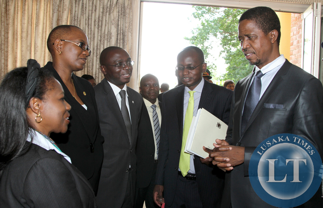 President Lungu with Foreign affairs Officers 3462