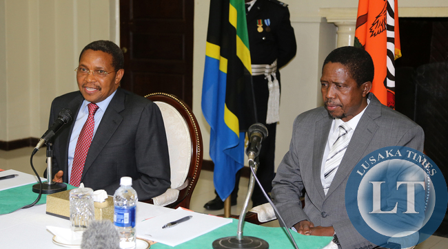 President Edgar Lungu during the Press Briefing talks with President Dr Jakaya Kitwete  at Statehouse in Lusaka on 25-02-2015. PICTURE  BY EDDIE MWANALEZA/STATEHOUSE.