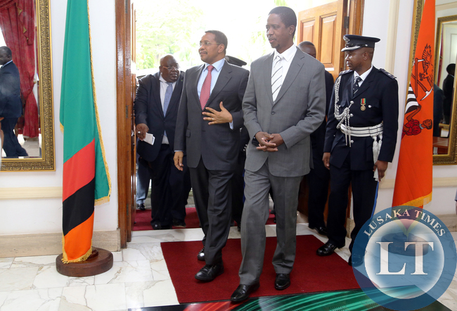 President Edgar Lungu with President Dr Jakaya Kitwete delegation at at Statehouse in Lusaka on 25-02-2015. PICTURE  BY EDDIE MWANALEZA/STATEHOUSE.