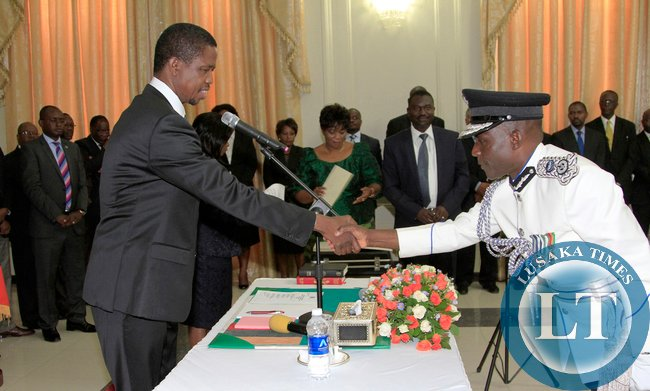 President Edgar Lungu during the Swearing in Ceremony of Mr Stanslous Agrippa Mukuka Chewe as Commissioner of Police Northern Province at Statehouse on Thursday 19-02-2015 PICTURE BY EDDIE MWANALEZA/STATEHOUSE.