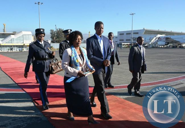 President Edgar Lungu and First Lady Esther leave for Lusaka after attending the 24th African Union summit in Addis Ababa, Ethiopia.