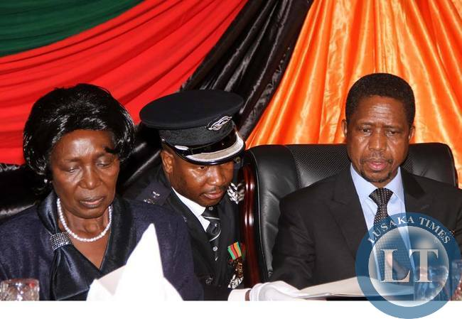 President Edgar Chagwa Lungu with Vice-President Inonge Wina during the Annual greetings ceremony for members of the Diplomatic Corps at State House on February 11,2015 -Picture by THOMAS NSAMA