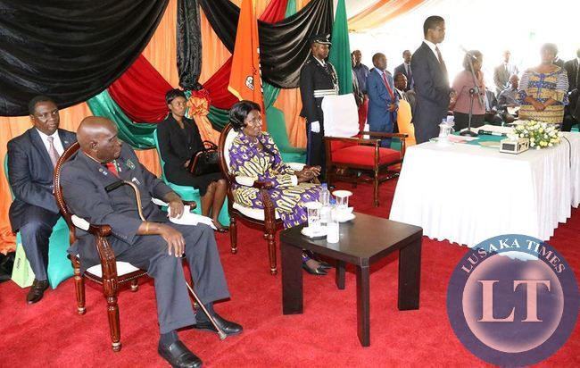 First Republican President Kenneth Kaunda at the swearing in ceremony
