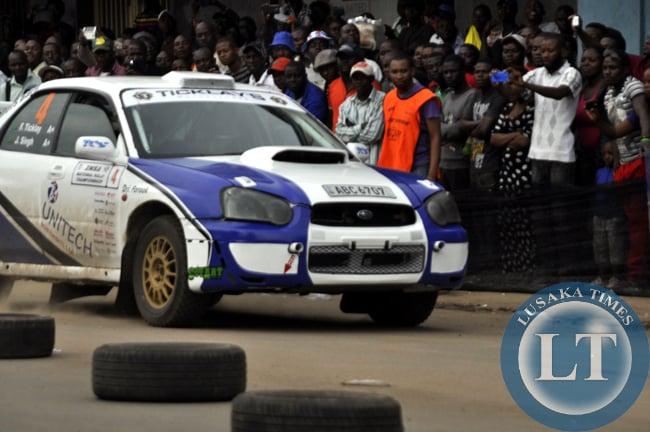 A rally car on the race track