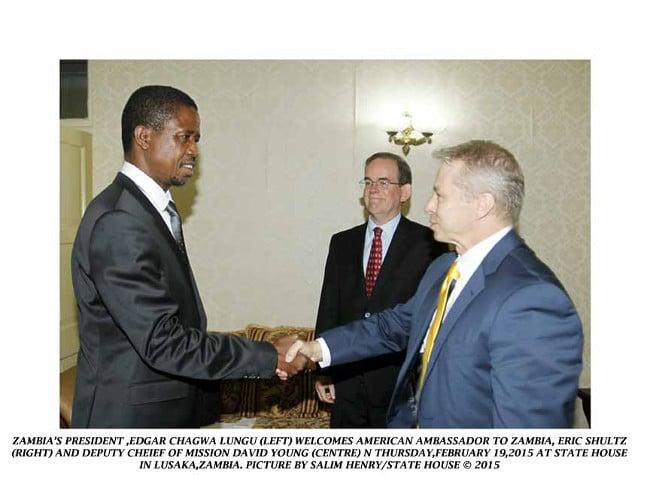 U.S. Ambassador Eric Schultz meeting Edgar Lungu