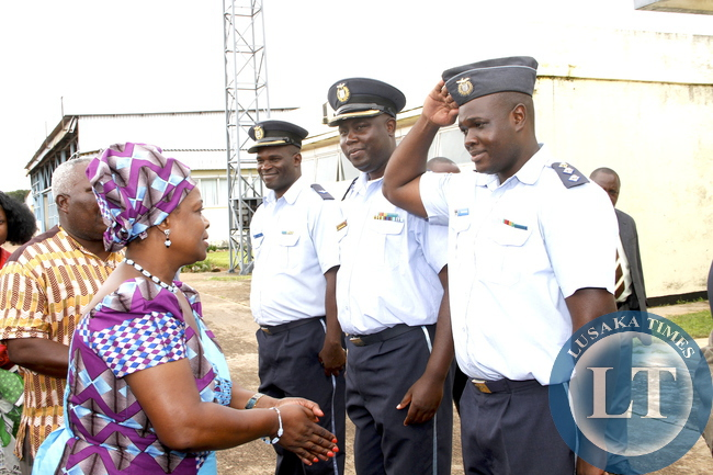 First Lady Esther Lungu welcomed by ZAF personnel   upon arrival at Zambia Air Force Samora Machel Base in Mbala on March 1,2015.