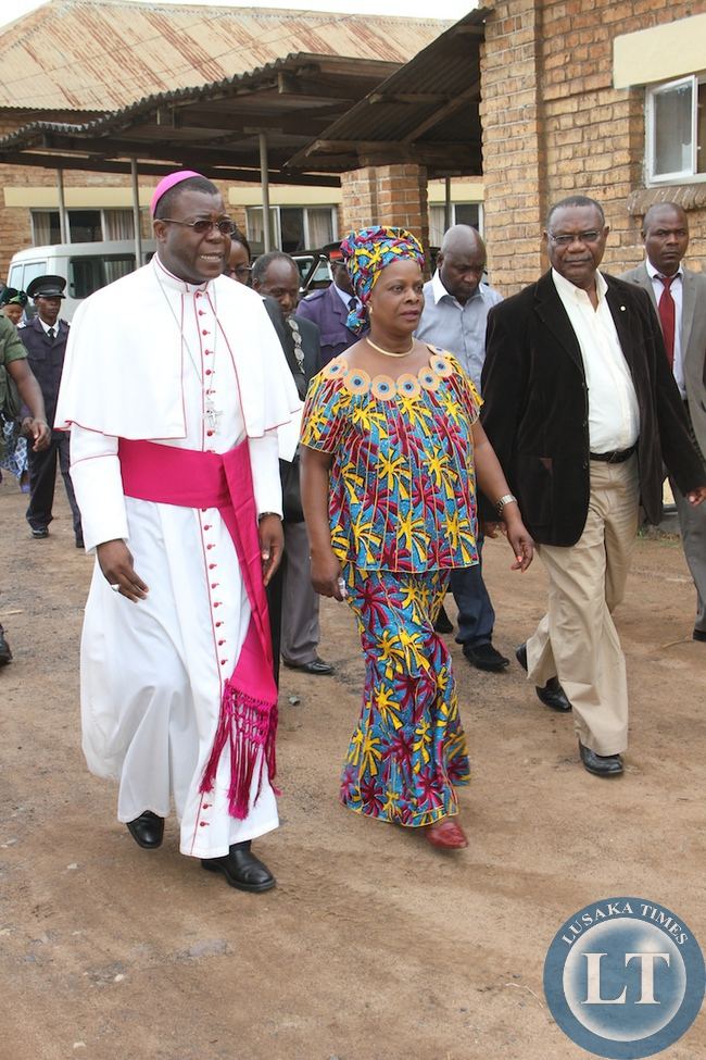 Fist Lady Esther Lungu  at Mansa after paying a Courtesy call on Diocese of Mansa Bishop Patrick Chisanga  at the Bishops office  in Luapula Province  on February 28,2015. This was during First Lady's Outreach Programme for People with Special Needs -Picture by THOMAS NSAMA