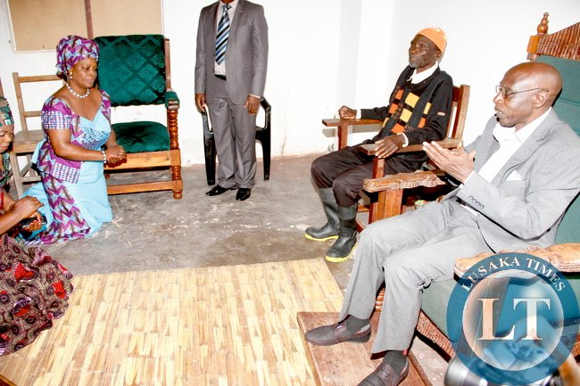 First Lady Esther Lungu when she paid a Courtesy call on Mwine Lubemba Chitimukulu at his palace in Mungwi District , Northern Province. This was during First Lady's Outreach Programme for People with Special Needs -Picture by THOMAS NSAMA on 1st March 2015 -Picture by THOMAS NSAMA