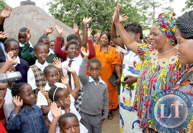 First Lady Esther Lungu during tour of Fatma Home for Children in Mansa, Luapula province. This was during First Lady's Outreach Programme for People with Special Needs -Picture by THOMAS NSAMA