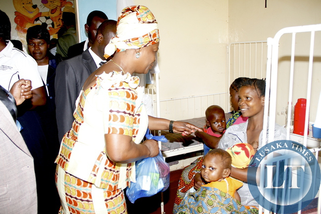 First Lady Esther Lungu visits patients at Mbala General Hospital