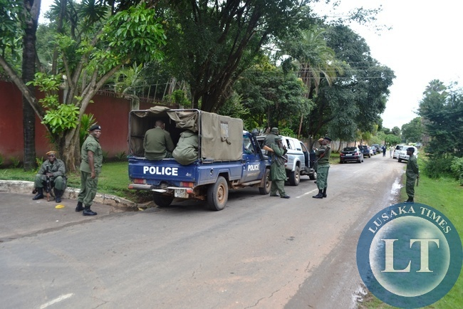 Police at the former residence of  United Party For National Development (UPND) leader Hakainde Hichilema