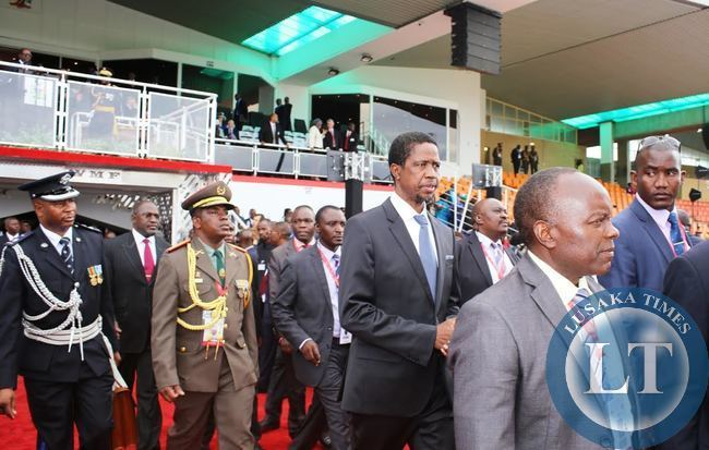 PRESIDENT Edgar Lungu leaving the independence stadium after the 25th jubilee independence anniversary and the inauguration of the 3rd President of Namibia