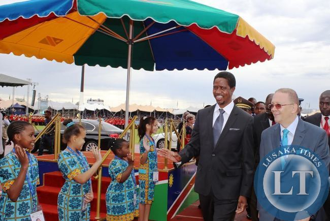 PRESIDENT Edgar Lungu is accompanied former Namibian Ambassador to German Neville Gertze on arrival at the independence stadium for the 25th jubilee independence anniversary and the inauguration of the 3rd of Namibia