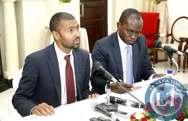 Mr Vincent Mwale Minister of  Youth and Sports who is Acting Chief Government Spokesperson with Mr Amos Chanda Special assisstant to the President Presss and Public Relation -Picture  By EDDIE MWANALEZA /STATEHOUSE.