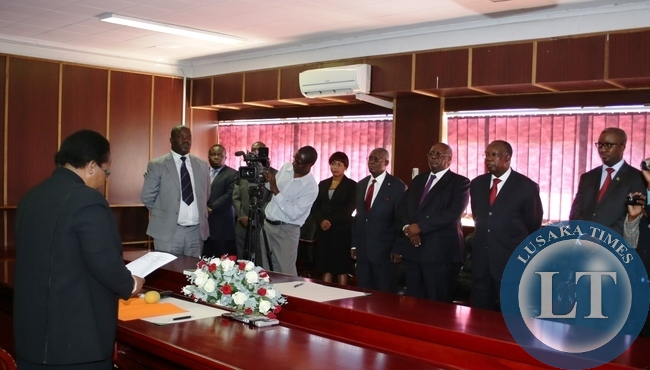 CHIEF Justice Ireen Mambilima has sworn in four judges to probe into the former DPP allegations of Mutembo Nchito's case. These are (from left to right) Judges, Anel Silungwe, Mathews Ngulube, Ernest Sakala and Mathews Zulu.