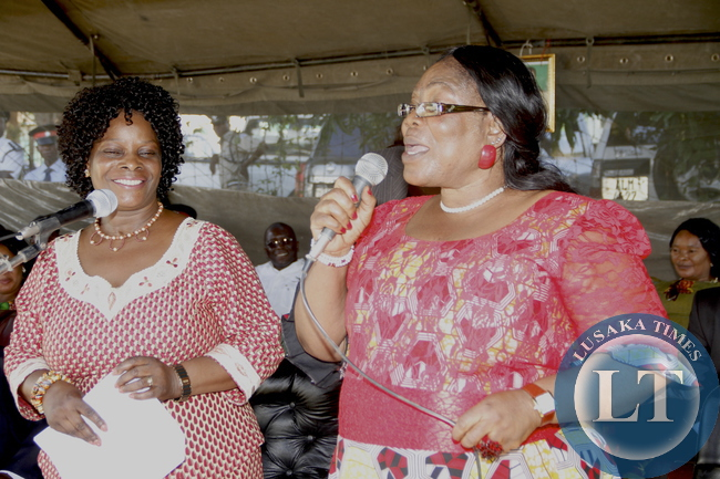 First Lady Esther Lungu with Fomer First Lady Vera Chiluba when she visited SDA Orphanage where she donated food stuffs.  This was during the  First Lady's Outreach Programme for People with Special Needs in Mansa on February 27,2014 -Picture by THOMAS NSAMA