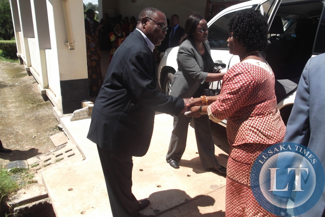 Luapula Province Minister Brigadier General Benson Kapaya welcoming the first Lady Esther Lungu at Mansa College of Education where she went to address and thank the Patriotic Front Women for their support and also share the need for women economic empowerment in order to take the party to higher heights