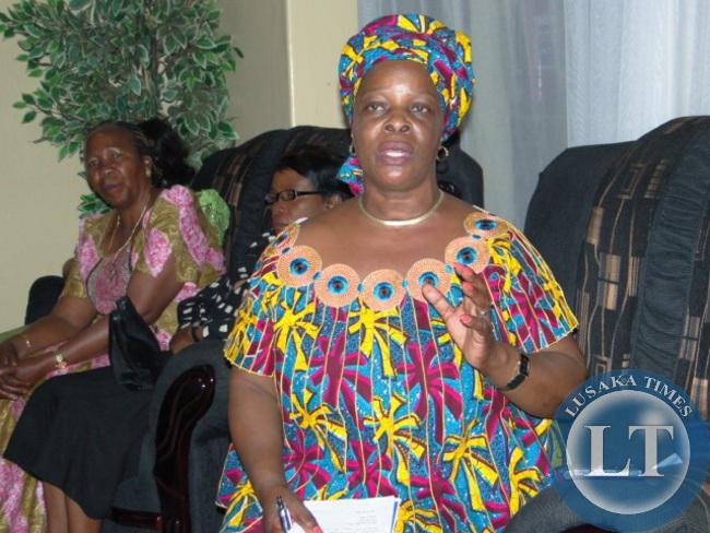 First Lady Esther Lungu addressing a gathering at Kasama lodge
