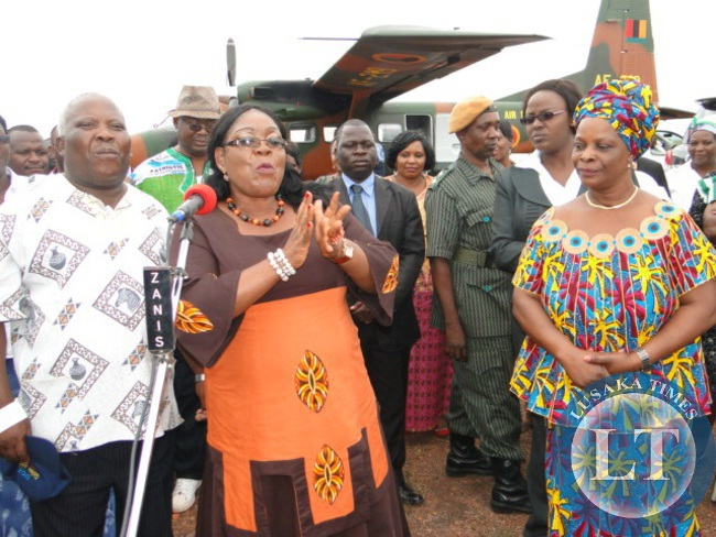 First Lady Esther Lungu ,Northern Province Minister Freedom Sikazwe and Former First Lady Vera Chiluba upon arrival at Kasama lodge
