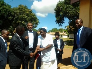 Parliamentary committee on health chairperson Likando Mufalali being welcomed by nurse in-charge of mothers shelter at Chipata General Hospital