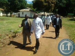 Mumbwa MP Dr Brian Chituwo with chipata General Hospital acting medical superintendent Dr Mbinga Mbinga during the tour of the parliamentary committee on health at the institution