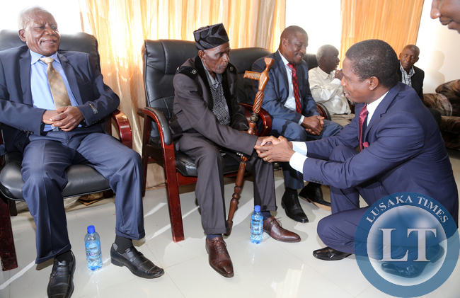 President Lungu Greets tradition Chiefs in Mpika