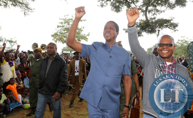 President Edgar Lungu with Pf Candidate Kapembwa Simbao greets Supporters  at Tanzuka  school in Senga Constituency- Picture  by Eddie Mwanaleza/ state house 10-04-2015.