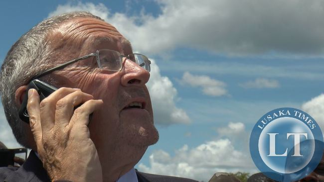 FILE: The Then Vice-President Dr Guy Scott makes the first call from Huaweis new tower