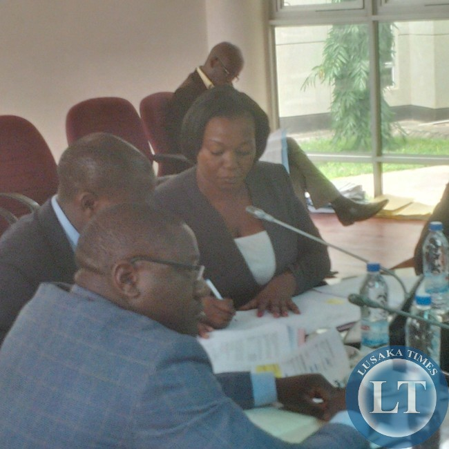 ZICTA Director General Margaret Chalwe Mudenda appearing before the parliamentary committee