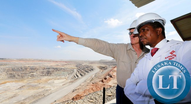 Mr Matt Pascal First Quantum Minerals Director of Operation with President Edgar Lungu  during the Tour of Kansanshi Mine PLC in Solwezi on Friday 15-05-2015 Picture  EDDIE MWANALEZA /STATE HOUSE.