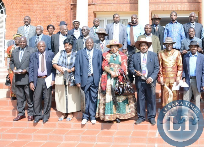 President Edgar Lungu (in light blue shirt 2nr up) pose for a photography with Southern Province Chiefs at State House