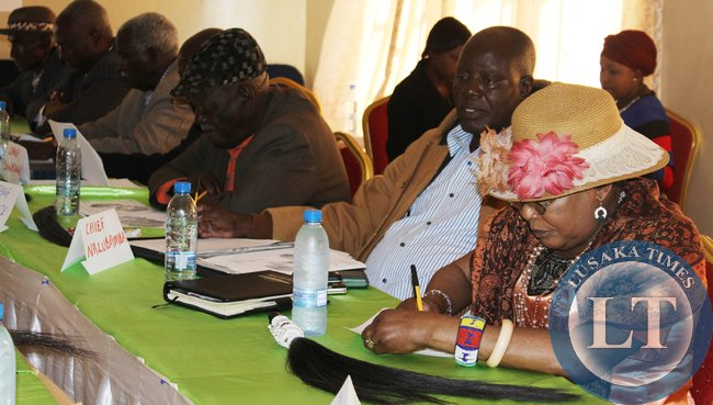 CHIEFTAINESS Mwenda (right) of Chikankanta, Chief Nalubamba of Namwala and Chief Monze among other traditional leaders attending a two-day Safe Motherhood orientation workshop in Choma