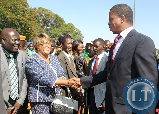 President Edgar Lungu is welcomed by Former Southern Province Permanent Secretary Gladys Kristafor at Harry Mwaanga Airport in Livingstone.