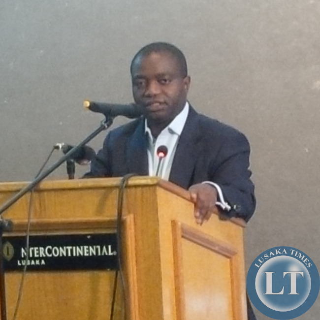 John Sangwa speaking during the public debate on Freedom  of Expression