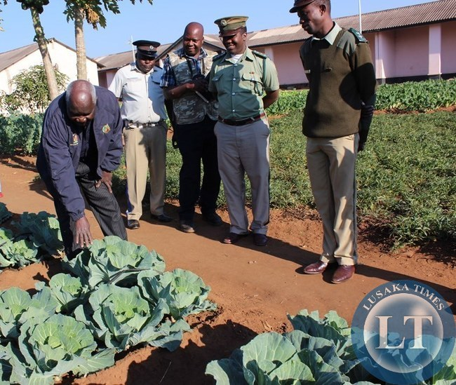 Home Affairs Deputy Minister Panji Kaunda (left) inspects some cabbages at Livingstone Central Prison on Monday as police and prison officers (right) look on