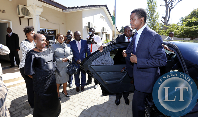 President Edgar Lungu arrive at Ghanian high Commission in Lusaka to signs a book of condolences to mourns  more than 200 people who died in last week's gas station fire disaster in the capital city Accra. PICTURE BY EDDIE MWANALEZA/ STATEHOUSE 10-06-2015.