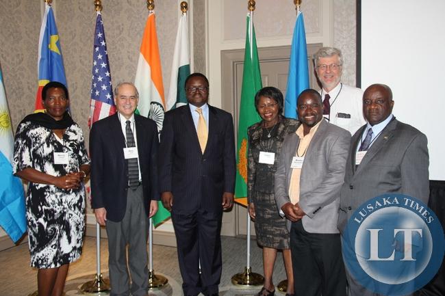 Professor Chomba with Ambassador Mulonda,  and Embassy of Zambia staff.