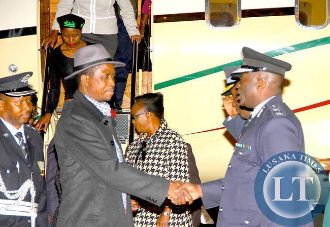 President Lungu on arrival  at KKIA